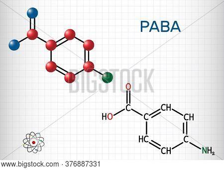 4-aminobenzoic Acid, P-aminobenzoic Acid, Paba Molecule. It Is Essential Nutrient For Some Bacteria