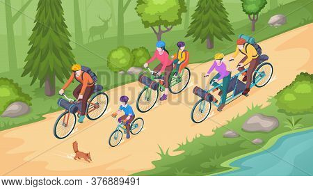 Family Biking Tourism, Bike Travel And Bicycle Outdoor Adventure, Isometric Illustration. Family On