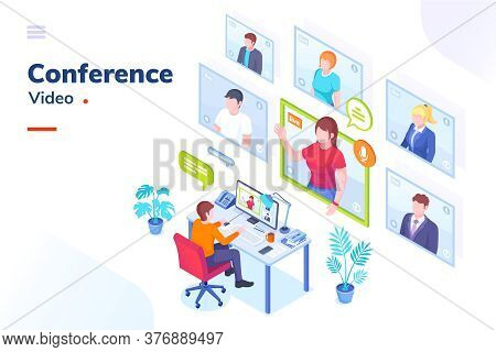 Video Conference Internet Meeting And Live Video Chat Isometric Illustration. Business Video Call An