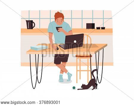 Man At Kitchen With Coffee Working Remotely. Male With Notebook At Home Doing Work. Remote Job Conce