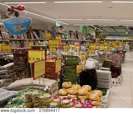 Rhodes, Greece - July 18, 2020: Jumbo Shopping Mall, Selling Floor Of A Toy Store. Rhodes, Greece