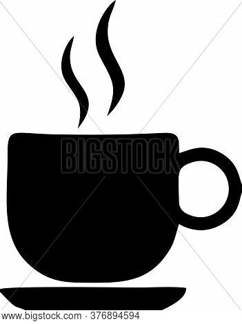Steamy Cup Black On Isolated White Background