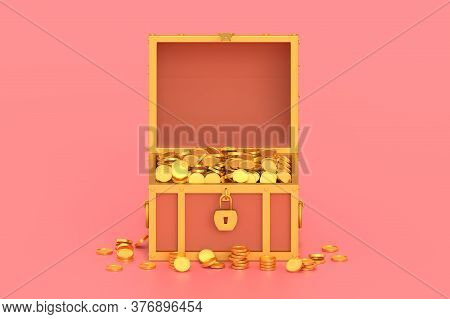 3d Render Treasure Chest With Coins On Pink Background.