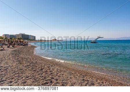 Rhodes, Greece - May 13, 2018: Elli Beach, The Main Beach Of Rhodes Town. Greece