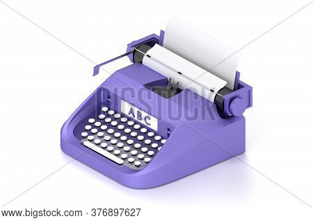 3d Render Typewriter With Paper For Writing Books.