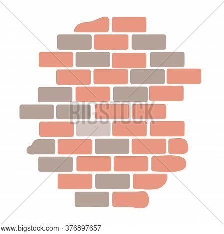 Brick Wall Building Block Construction Isolated On White Background. Material For Home Repair. Brick