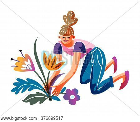 Young Woman Planting Flower In Seedbed. Girl Sitting On Ground In Squatting Position. Gardening Peop
