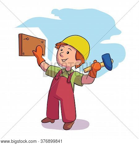 Little Boy Builder In Helmet And Uniform Hammering Nail On Wooden Board. Young Construction Worker C