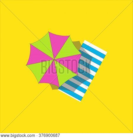 Top View Vector Illustration Of Beach Mat Towel And Parasol .