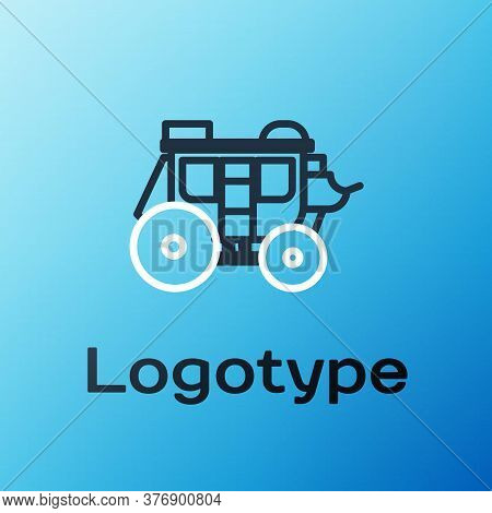 Line Western Stagecoach Icon Isolated On Blue Background. Colorful Outline Concept. Vector Illustrat