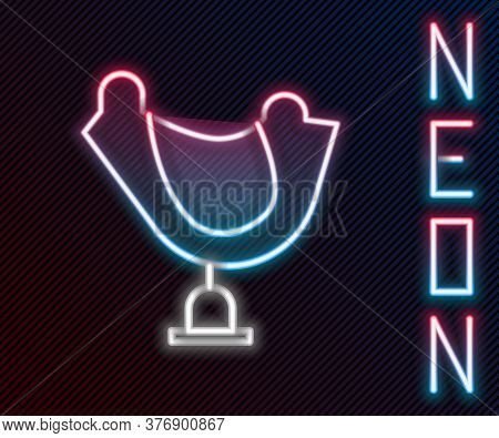 Glowing Neon Line Wild West Saddle Icon Isolated On Black Background. Colorful Outline Concept. Vect