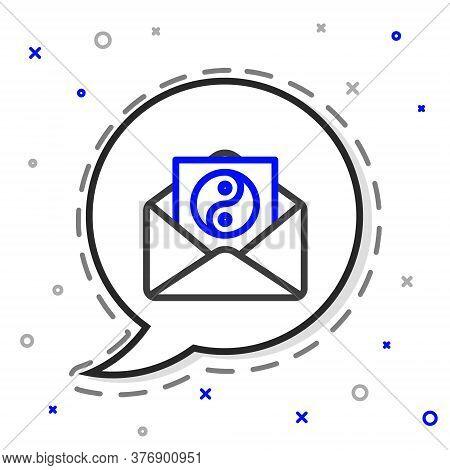 Line Yin Yang And Envelope Icon Isolated On White Background. Symbol Of Harmony And Balance. Colorfu