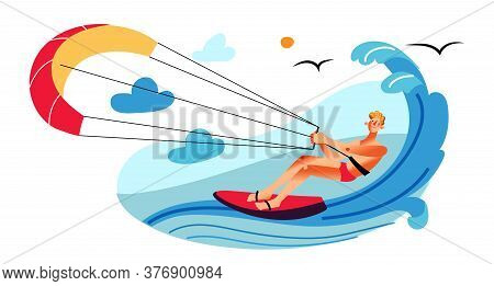 Man Engaged In Parasailing. Guy On Surfboard. Motor Boat Pulling Athlete At High Speed In Ocean Or S