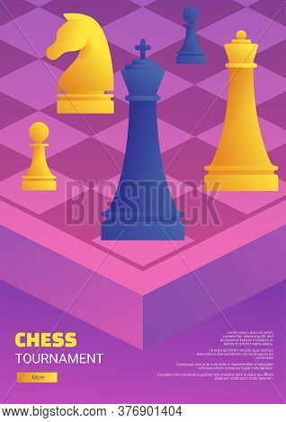 Chess Tournament Flyer Template. Purple Chessboard With Blue And Yellow Chess Pieces. Chess Classes