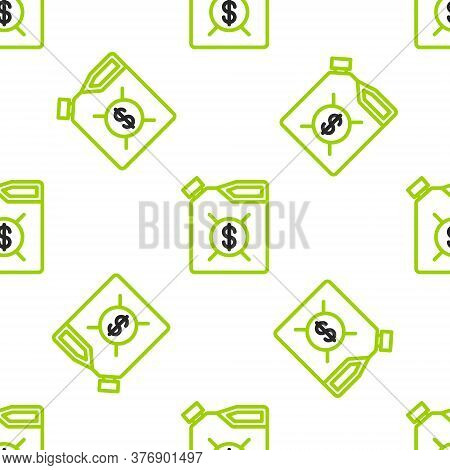Line Canister For Motor Machine Oil Icon Isolated Seamless Pattern On White Background. Oil Gallon.