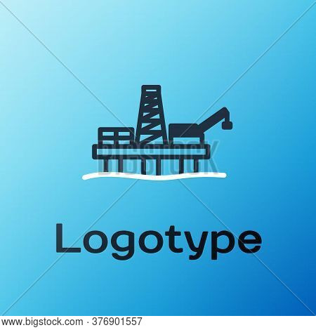 Line Oil Platform In The Sea Icon Isolated On Blue Background. Drilling Rig At Sea. Oil Platform, Ga