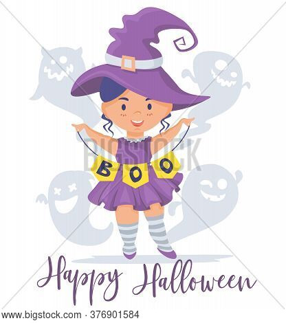 Happy Halloween. Little Girl Dressed As A Witch. Garland With The Inscription Boo. Merry And Kind Gh