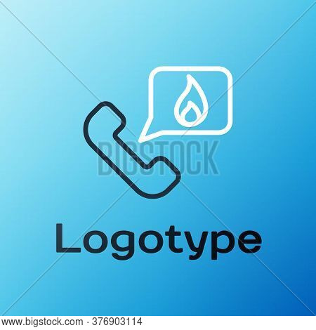 Line Telephone With Emergency Call 911 Icon Isolated On Blue Background. Police, Ambulance, Fire Dep
