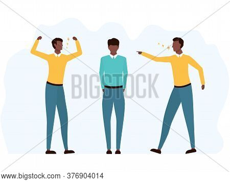 Bullying African Man Victim Abuse Vector Illustration Isolated On White. Two Angry American Men Yell