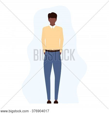 Disappointed Sad Young African Man Standing Alone. Unsuccessful American Businessman, Manager Or Wor