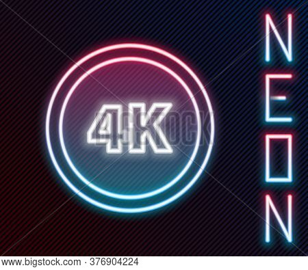 Glowing Neon Line 4k Ultra Hd Icon Isolated On Black Background. Colorful Outline Concept. Vector Il