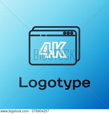 Line Online Play Video With 4k Ultra Hd Video Technology Icon Isolated On Blue Background. Film Stri