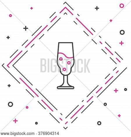 Line Wine Glass Icon Isolated On White Background. Wineglass Icon. Goblet Symbol. Glassware Sign. Ha