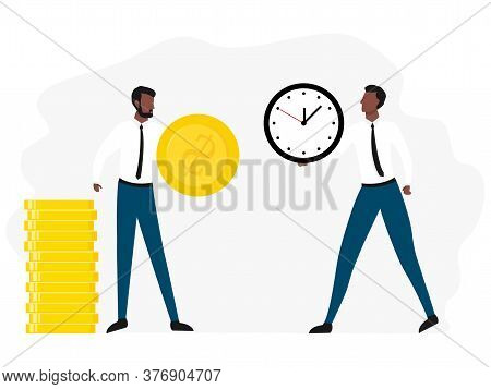 Exchange Time With Money. Business Concept Vector Illustration Isolated On White Background. African