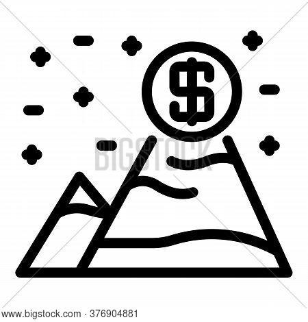 Money Grow Mountains Icon. Outline Money Grow Mountains Vector Icon For Web Design Isolated On White