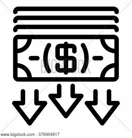 Crisis Cash Money Icon. Outline Crisis Cash Money Vector Icon For Web Design Isolated On White Backg