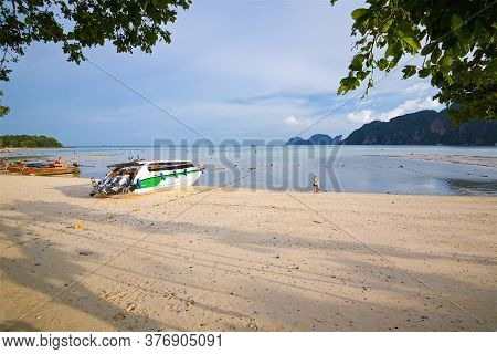 Photo Taken On A Wide Angle Lens, Panoramic View Of The Azure Sea And The Beach Of Koh Tao Island In