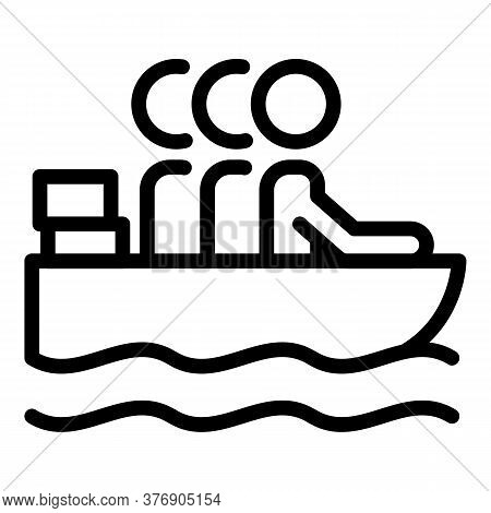 Illegal Immigrants In Boat Icon. Outline Illegal Immigrants In Boat Vector Icon For Web Design Isola