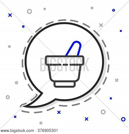 Line Mortar And Pestle Icon Isolated On White Background. Colorful Outline Concept. Vector Illustrat