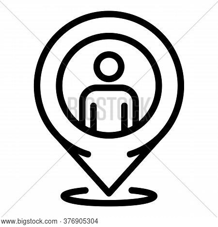 Illegal Immigrants Gps Pin Icon. Outline Illegal Immigrants Gps Pin Vector Icon For Web Design Isola