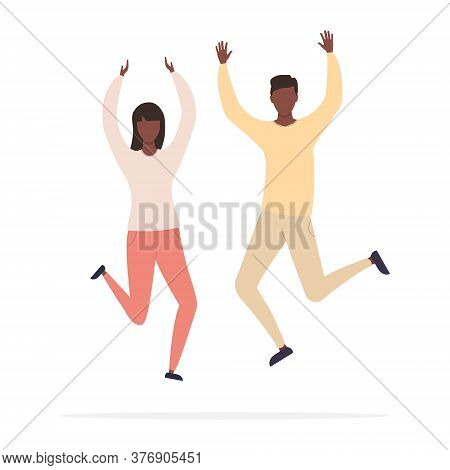 Happy Jumping Young African Man And Woman With Raised Hands Celebrating Victory And Success. Vector