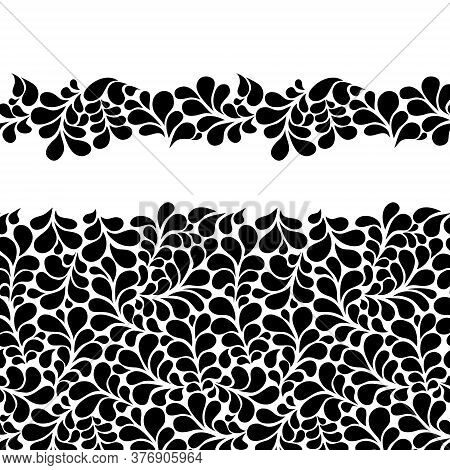 Water Drops Border Surface Vector Design. Flourishes Texture. Great For Wallpaper, Backgrounds, Invi