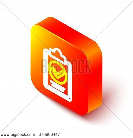 Isometric Line Verification Of Delivery List Clipboard Icon Isolated On White Background. Orange Squ
