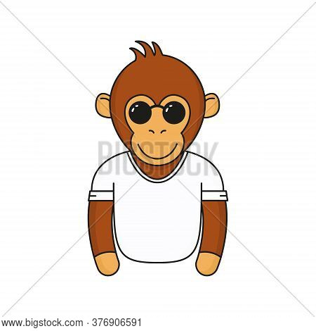 Cute Monkey With Sunglasses. Cartoon Fashionable Monkey Wear In Glasses And White T-shirt. Animal Em