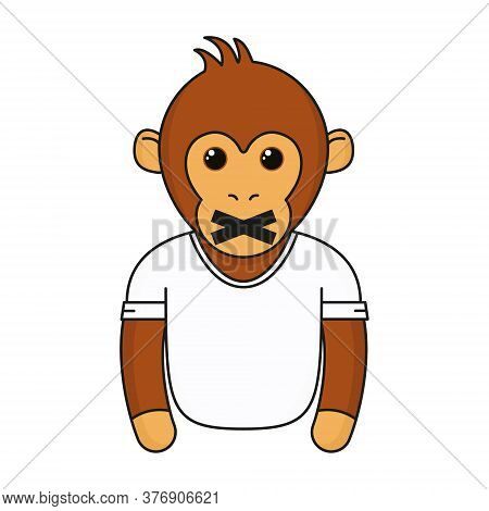 Cute Monkey With Closed Mouth. Cartoon Fashionable Monkey Wear In White T-shirt. Animal Emoji Vector