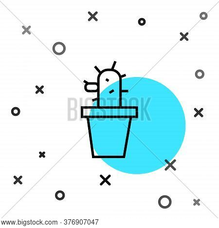 Black Line Cactus And Succulent In Pot Icon Isolated On White Background. Plant Growing In A Pot. Po