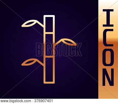 Gold Line Bamboo Stems With Leaves Icon Isolated On Black Background. Vector Illustration