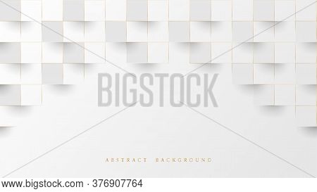 Abstract White And Lines Gold 3d Geometric Pattern Background. Luxury Stacked Box. Vector Illustrati
