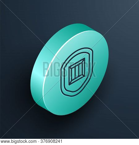 Isometric Line Delivery Security With Shield Icon Isolated On Black Background. Delivery Insurance.