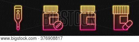 Set Line Medicine Bottle, Medical Digital Thermometer, Medicine Bottle And Pills And Medicine Bottle