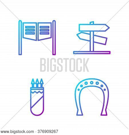 Set Line Horseshoe, Quiver With Arrows, Saloon Door And Road Traffic Signpost. Gradient Color Icons.