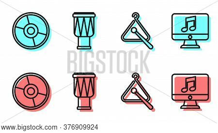 Set Line Triangle Musical Instrument, Cd Or Dvd Disk, Drum And Computer With Music Note Icon. Vector