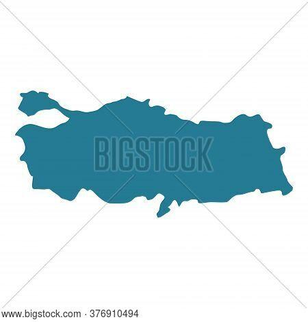 Turkey Map Vector Icon. Turkey Blue Shape Silhouette Illustration Isolated On White.