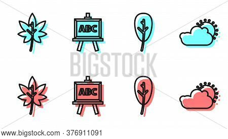 Set Line Leaf Or Leaves, Leaf Or Leaves, Chalkboard And Sun And Cloud Weather Icon. Vector