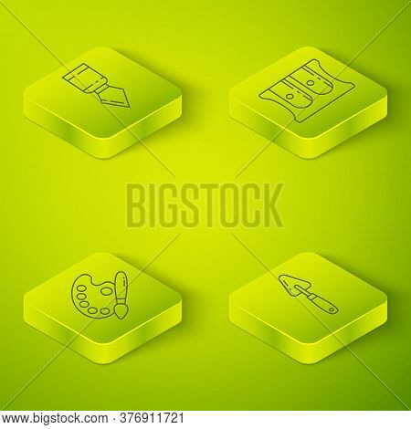 Set Isometric Pencil Sharpener, Paint Brush With Palette, Palette Knife And Palette Knife Icon. Vect