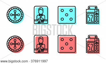 Set Line Game Dice, Casino Roulette Wheel, Casino Dealer And Deck Of Playing Cards Icon. Vector